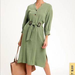 Sage green belted midi shift dress